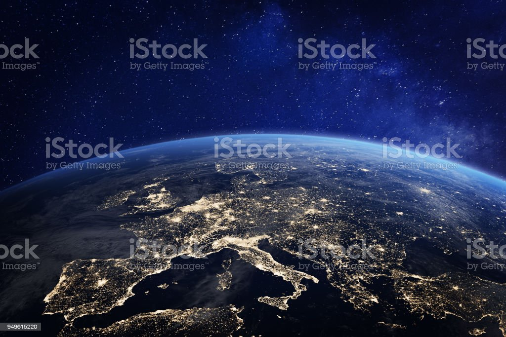 Europe at night from space, city lights, elements from NASA royalty-free stock photo