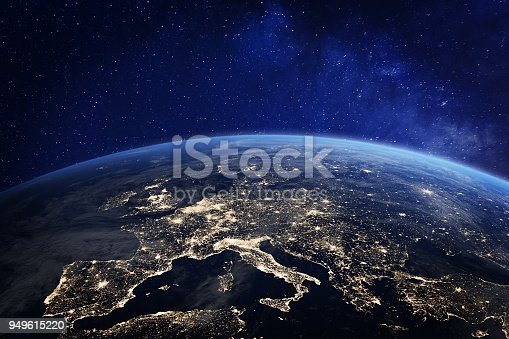 istock Europe at night from space, city lights, elements from NASA 949615220