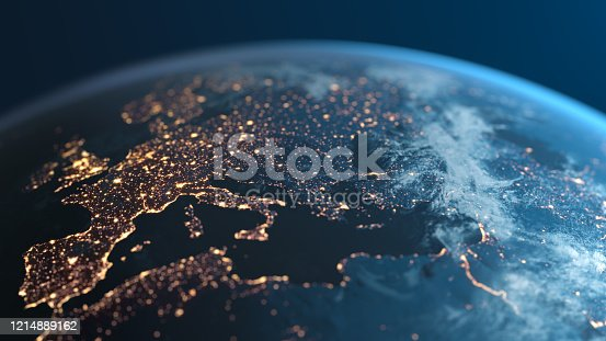 Europe and surrounding areas seen from space. Perfectly usable for topics like global business or European economy and culture. High quality 3D rendered image made from ultra high res 20k textures by NASA: https://visibleearth.nasa.gov/images/55167/earths-city-lights, https://visibleearth.nasa.gov/images/73934/topography, https://visibleearth.nasa.gov/images/57747/blue-marble-clouds/77558l