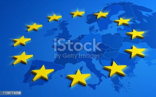 1125774238 istock photo Europe blue flag with yellow stars and European Union map 1125774208