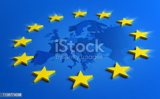 istock Europe blue flag with yellow stars and European Union map 1125774238