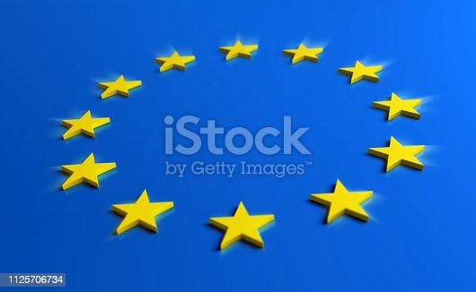 1126684642 istock photo Europe blue flag with yellow stars 1125706734