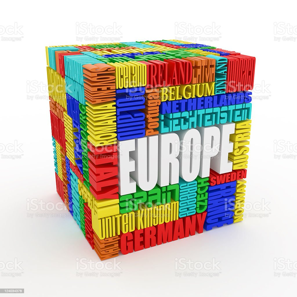 Europe. Box from name of european countries royalty-free stock photo