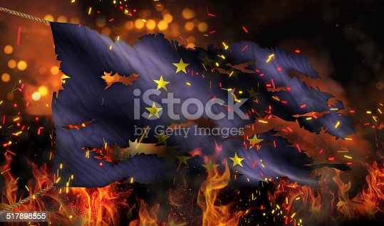 istock Europe Burning Fire Flag War Conflict Night 3D 517898555