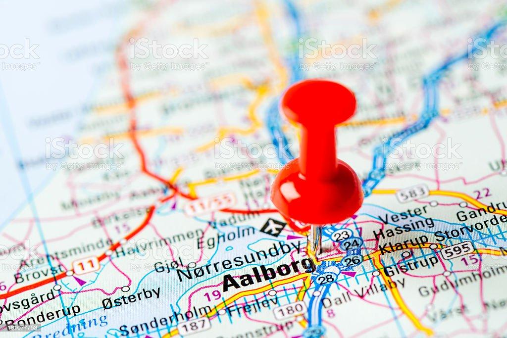 Europe cities on map series: Aalborg stock photo
