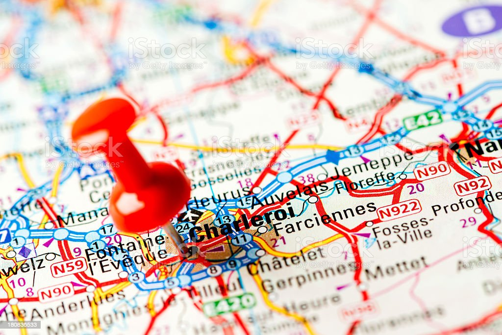 Europe cities on map series: Charleroi royalty-free stock photo