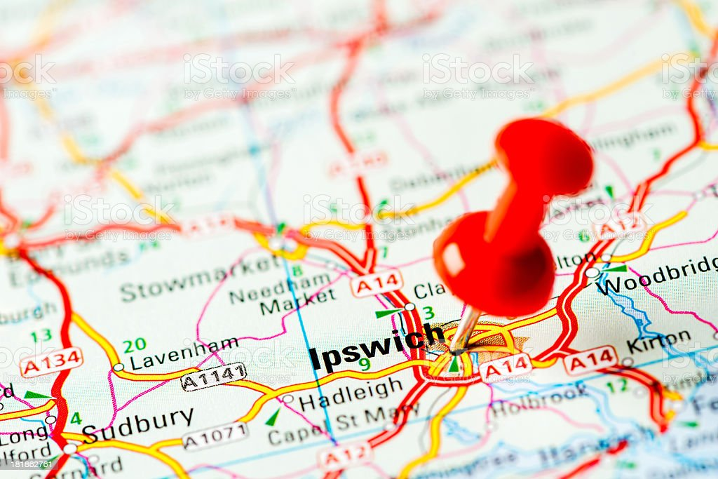 Europe cities on map series: Ipswich stock photo