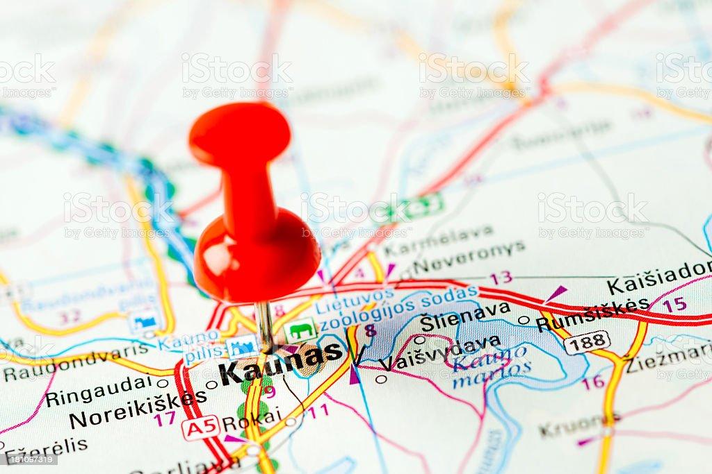Europe Cities On Map Series Kaunas Stock Photo IStock - Kaunas map