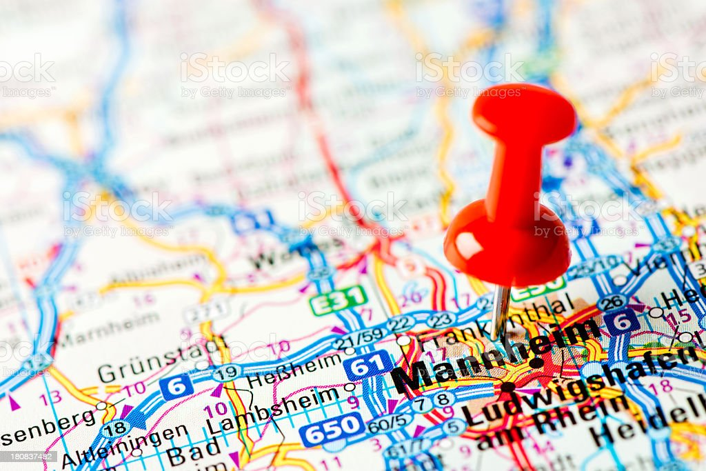 Europe cities on map series: Mannheim royalty-free stock photo