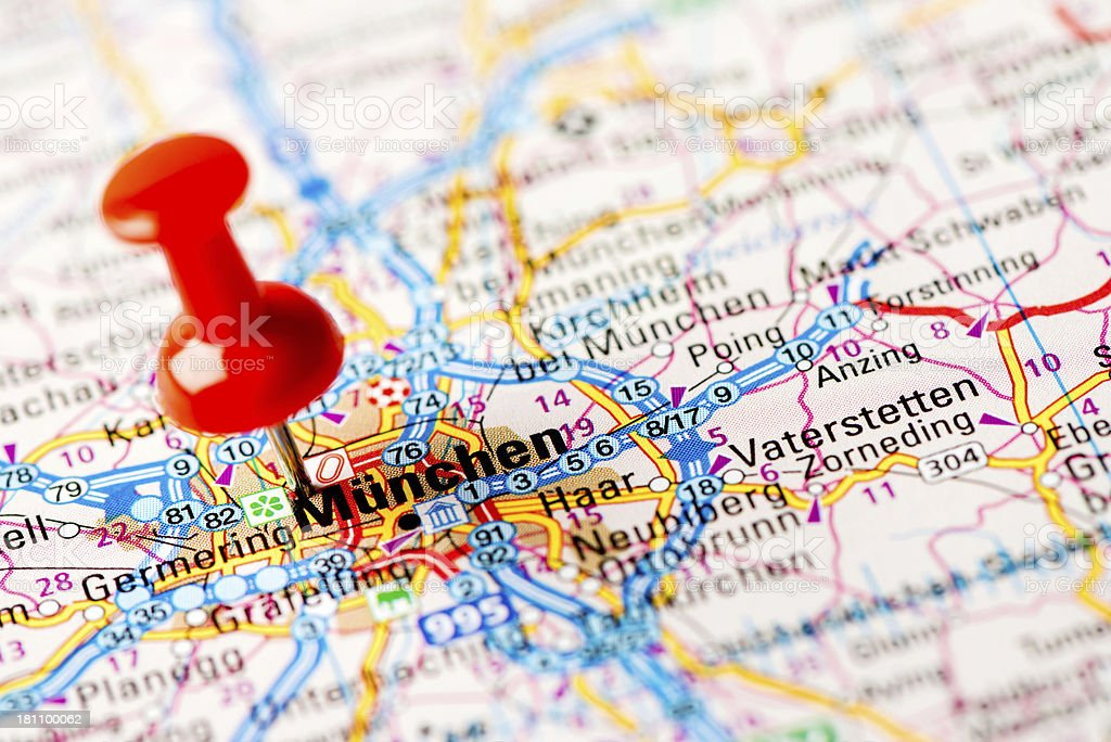 Europe cities on map series: München royalty-free stock photo