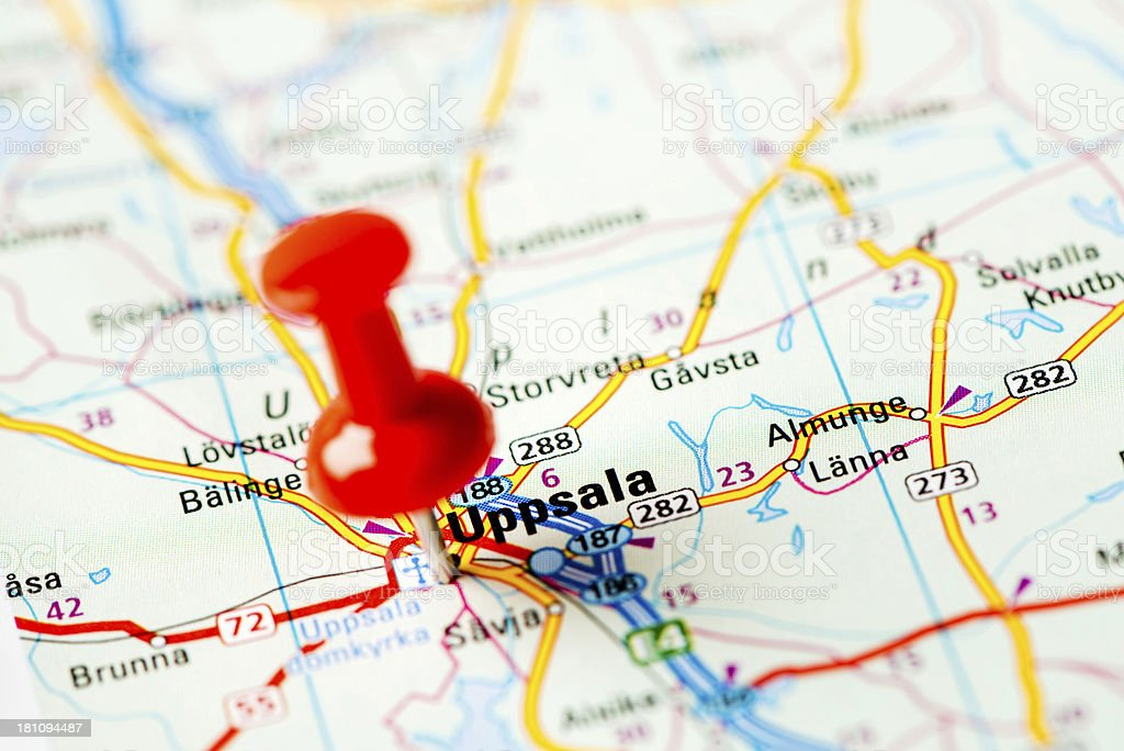 Europe cities on map series: Uppsala stock photo