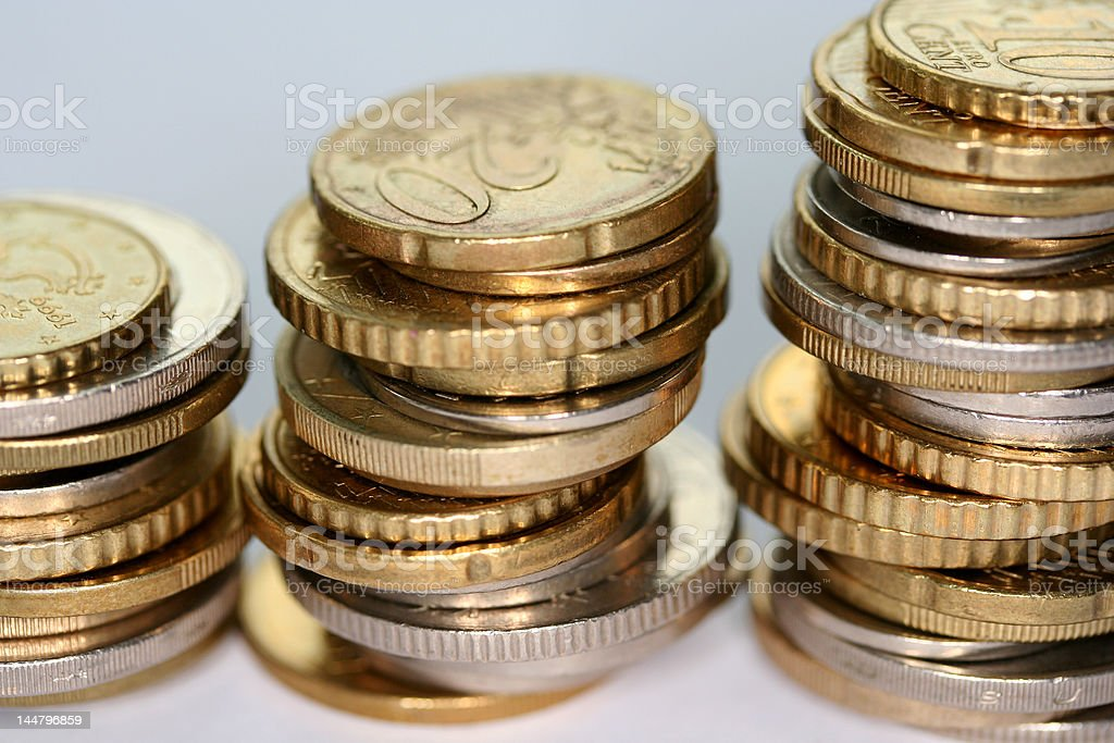 Europe coins on a table royalty-free stock photo