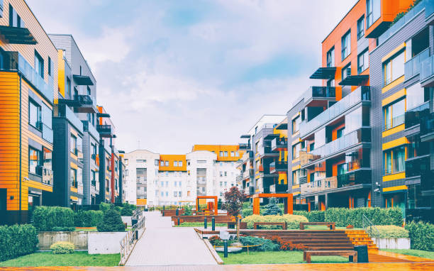 Europe Complex of European residential buildings stock photo