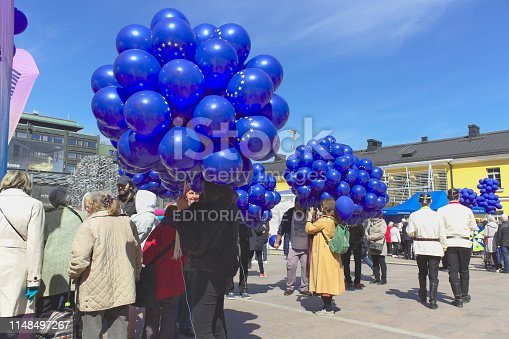 Europe Day was celebrated on 9 May 2019. In Helsinki, the capital of Finland, this happened in middle of city. Blue EU balloons were given to participants