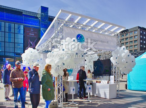 Helsinki, Finland - May 9, 2019: Europe Day was celebrated,  people celebrating in Kamppi Market Square.