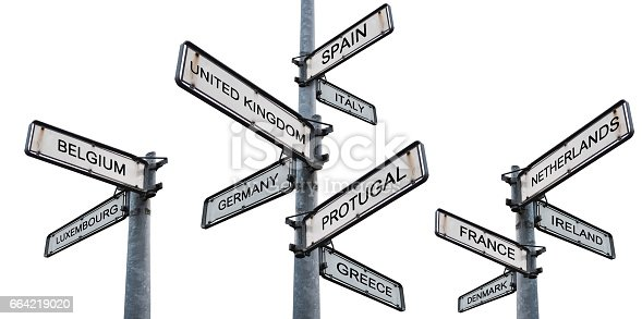 istock Europe destinations signpost, isolated on white backgrounds 664219020