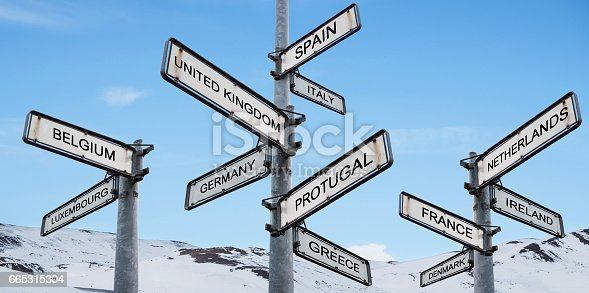 istock Europe destinations signpost, on blue sky with snow mountain backgrounds 665315304