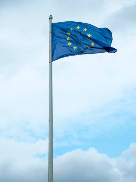Europe flag waving stock photo