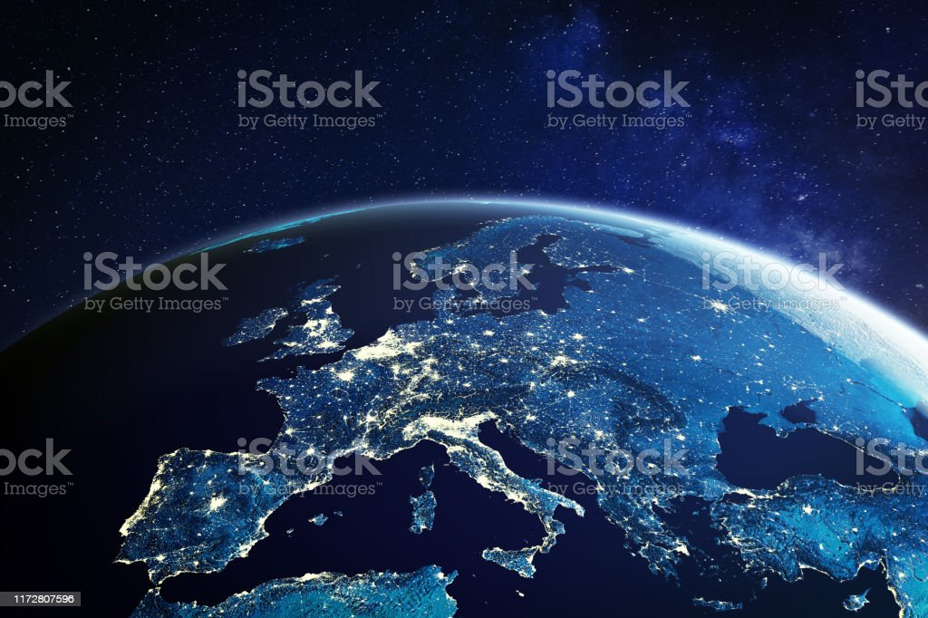 Europe from space at night with city lights showing European cities in Germany, France, Spain, Italy and United Kingdom (UK), global overview, 3d rendering of planet Earth, elements from NASA Europe from space at night with city lights showing European cities in Germany, France, Spain, Italy and United Kingdom (UK), global overview, 3d rendering of planet Earth, elements from NASA. Some elements from NASA (https://eoimages.gsfc.nasa.gov/images/imagerecords/57000/57752/land_shallow_topo_2048.jpg) Globe - Navigational Equipment Stock Photo