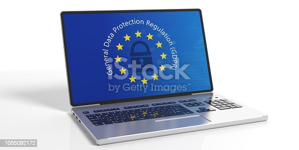 937370192 istock photo GDPR, Europe. General Data Protection Regulation on laptop screen isolated on white background. 3d illustration 1055092172