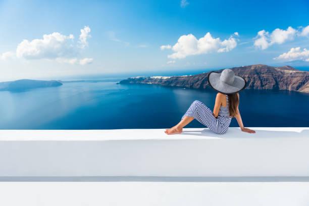 Europe Greece Santorini travel vacation - woman stock photo