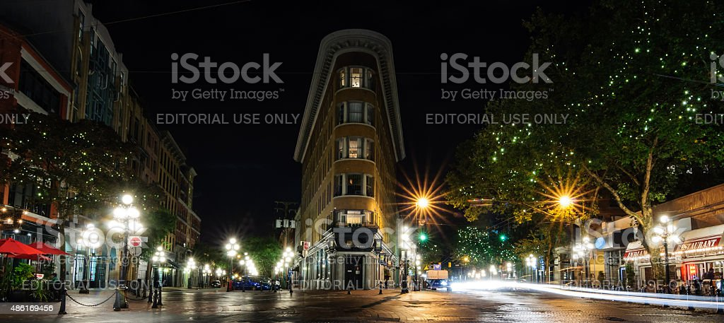 Europe Hotel Gas Town Night Vancouver stock photo