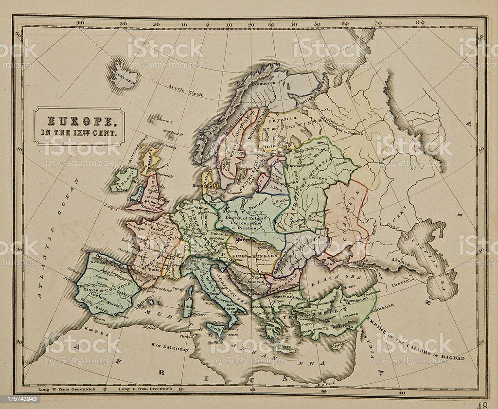 Mapa Europa Siglo Ix.Europa Del Siglo Ix Antiguo Mapa Del Mundo Foto De Stock Y Mas Banco De Imagenes De 1857 Istock