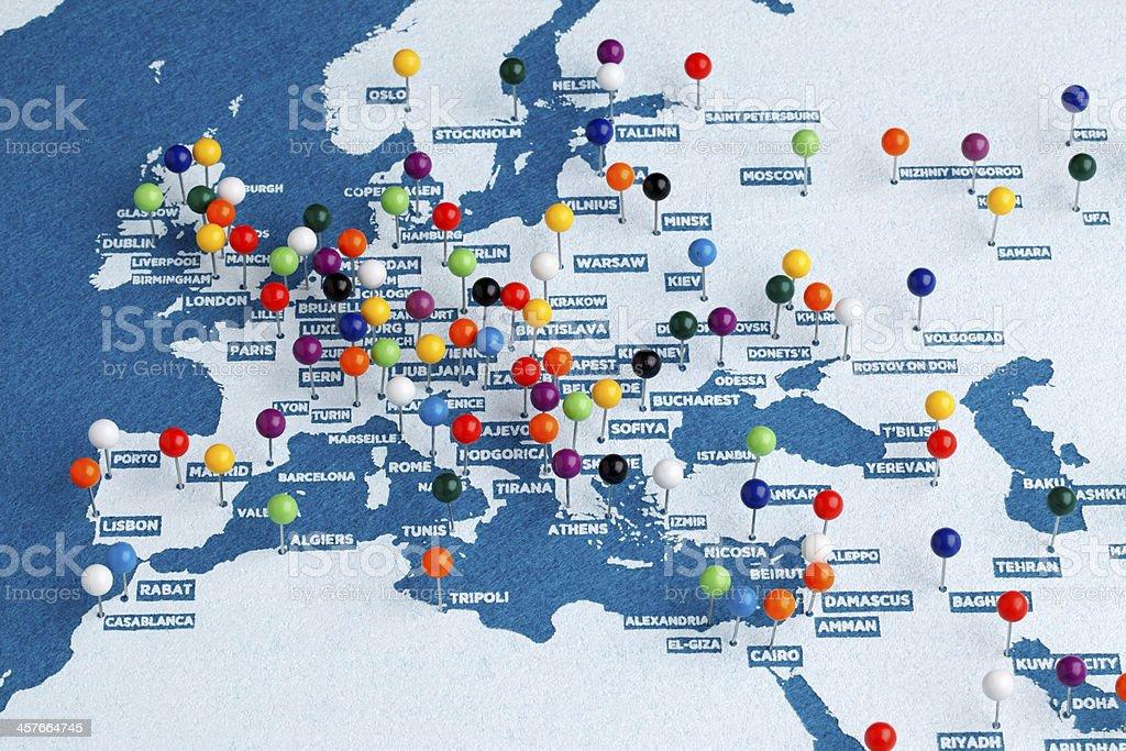 Europe Major Cities Map stock photo