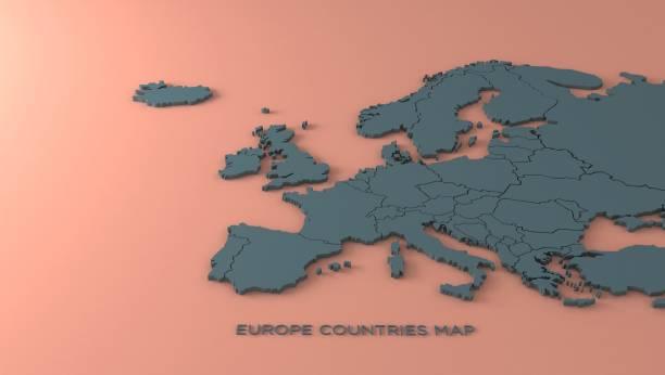 europa-karte. europäischen ländern, die karte rendern. - europa kontinent stock-fotos und bilder