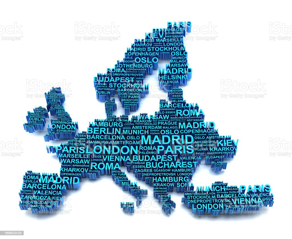 Europe map formed by names of major cities royalty-free stock photo