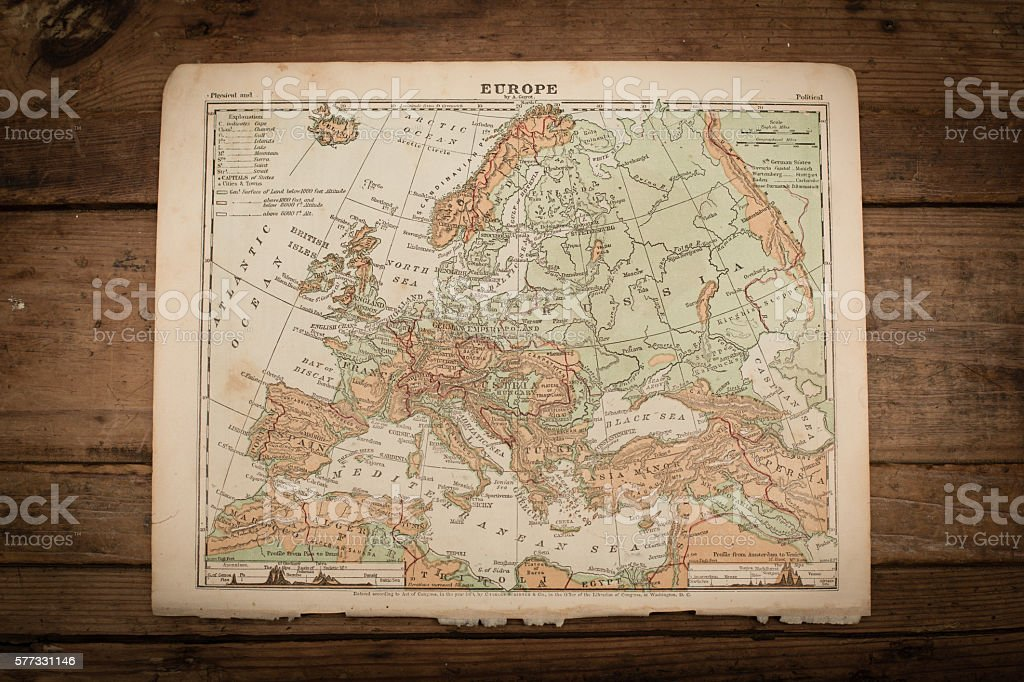 Europe map illustration antique 1871 book page stock photo more europe map illustration antique 1871 book page royalty free stock photo gumiabroncs Image collections