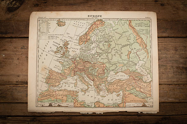 Europe Map Illustration, Antique 1871 Book Page stock photo