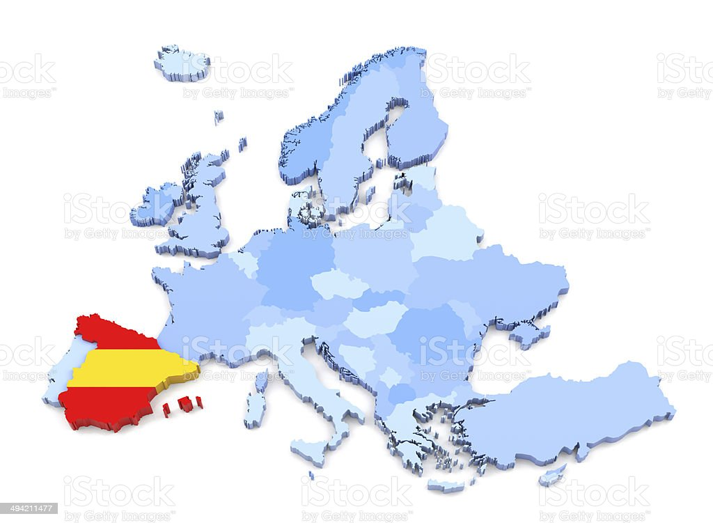 Map Of Spain Download Free.Europe Map Spain With Flag Stock Photo Download Image Now Istock