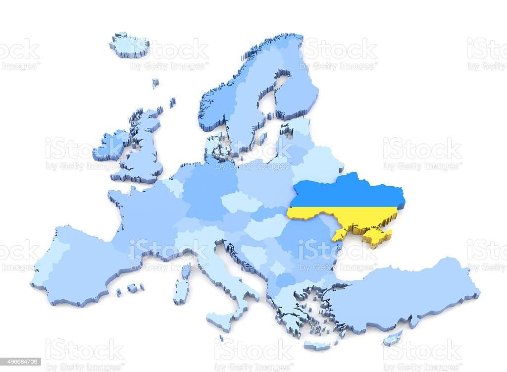 Europe Map Ukraine With Flag Stock Photo More Pictures of Blue