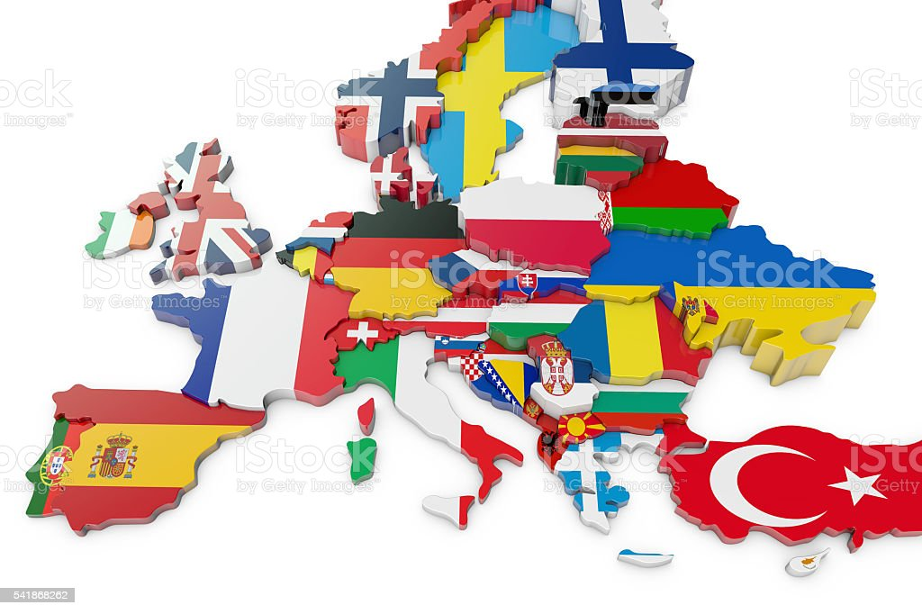 Europe map with country flags stock photo
