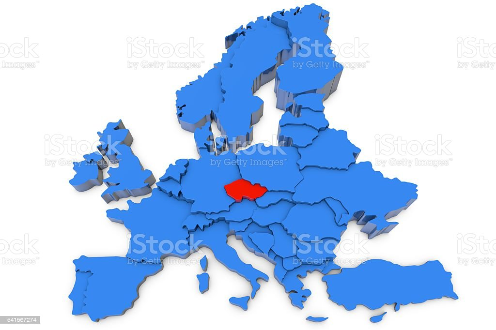 Europe map with Czech Republic in red stock photo