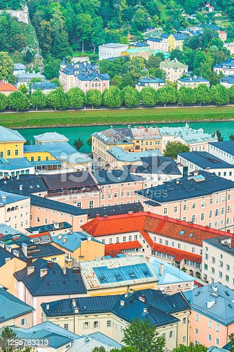 Europe old city roof top aerial foreshortening buildings from above Austria Salzburg