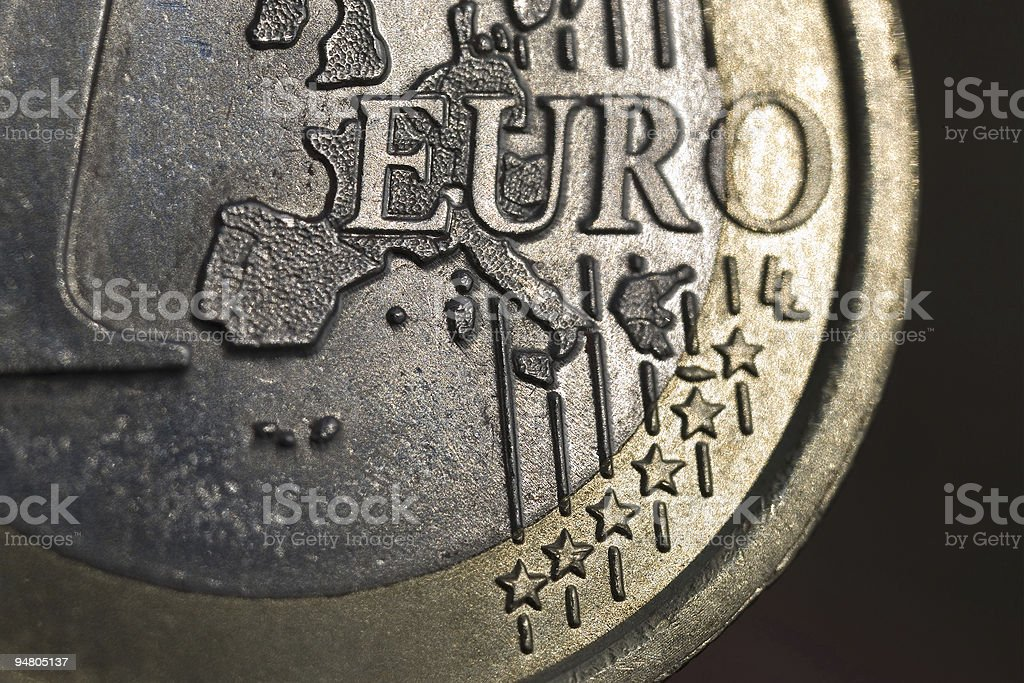 europe on a euro coin royalty-free stock photo
