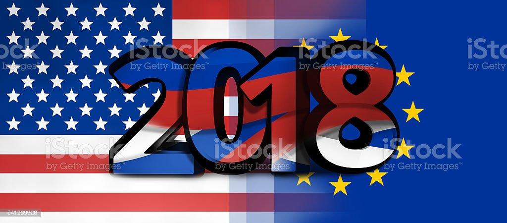 USA europe russia 2018 bold font 3d illustration stock photo
