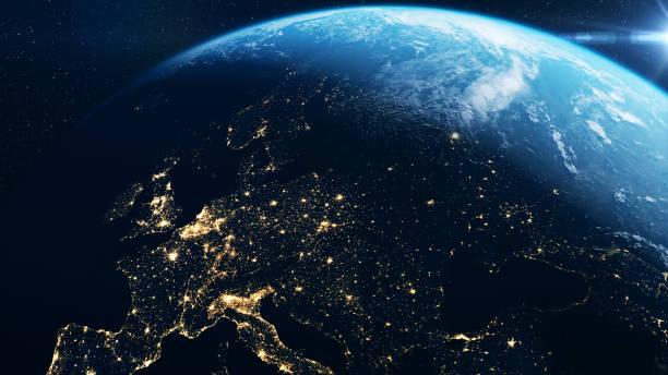 europa aus dem all - europa kontinent stock-fotos und bilder