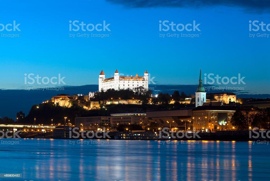 Europe, Slovakia, Bratislava Castle on the Danube River stock photo