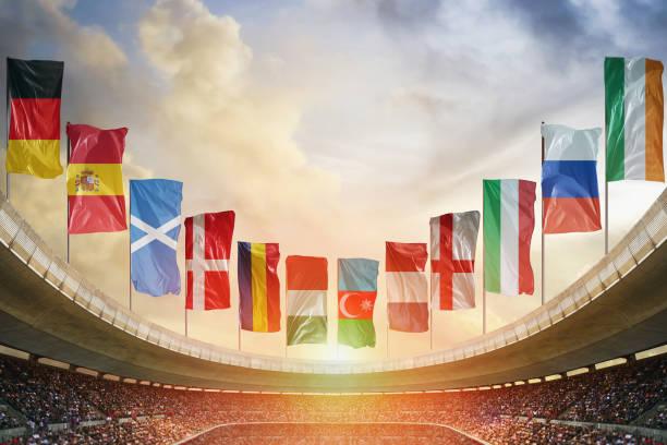 europa voetbalstadion. klaar voor het spel - internationale voetbal stockfoto's en -beelden