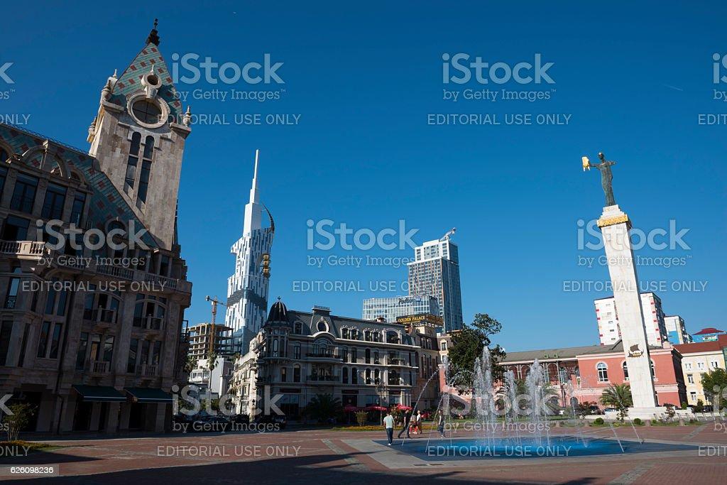Europe Square and Batumi Tower in Batumi Georgia stock photo