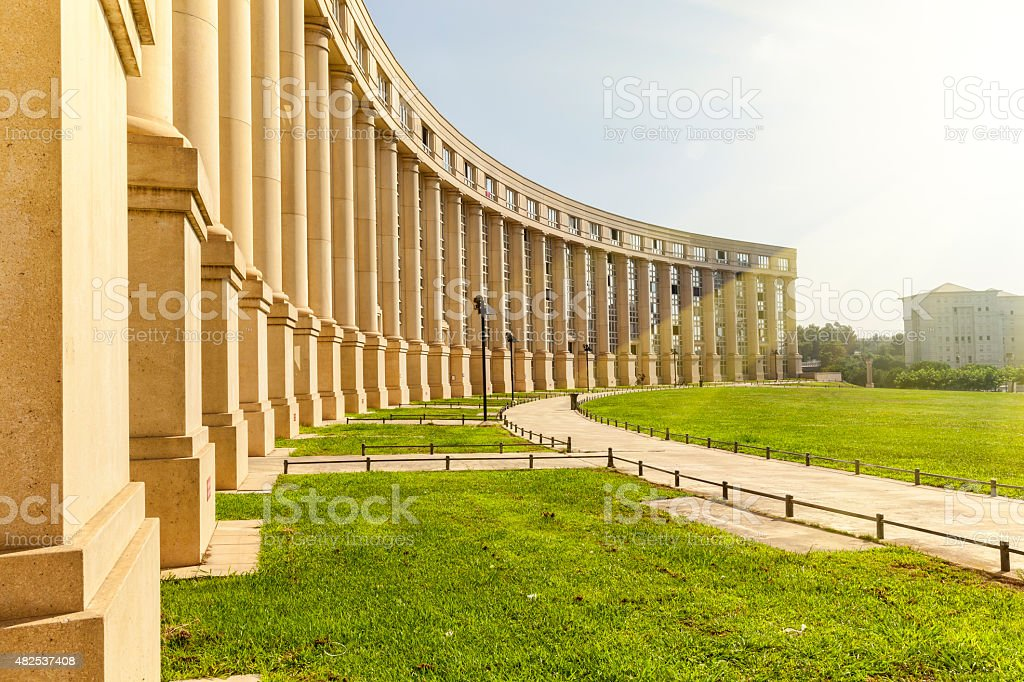 Europe Square illuminated by the morning sun in Montpellier stock photo