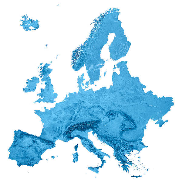 europe topographic map isolated - europe map stock photos and pictures