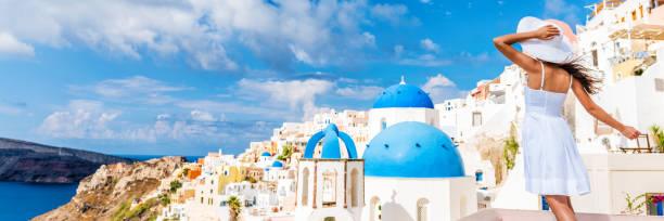 Europe Tourist Travel Woman Banner - Oia Santorini stock photo