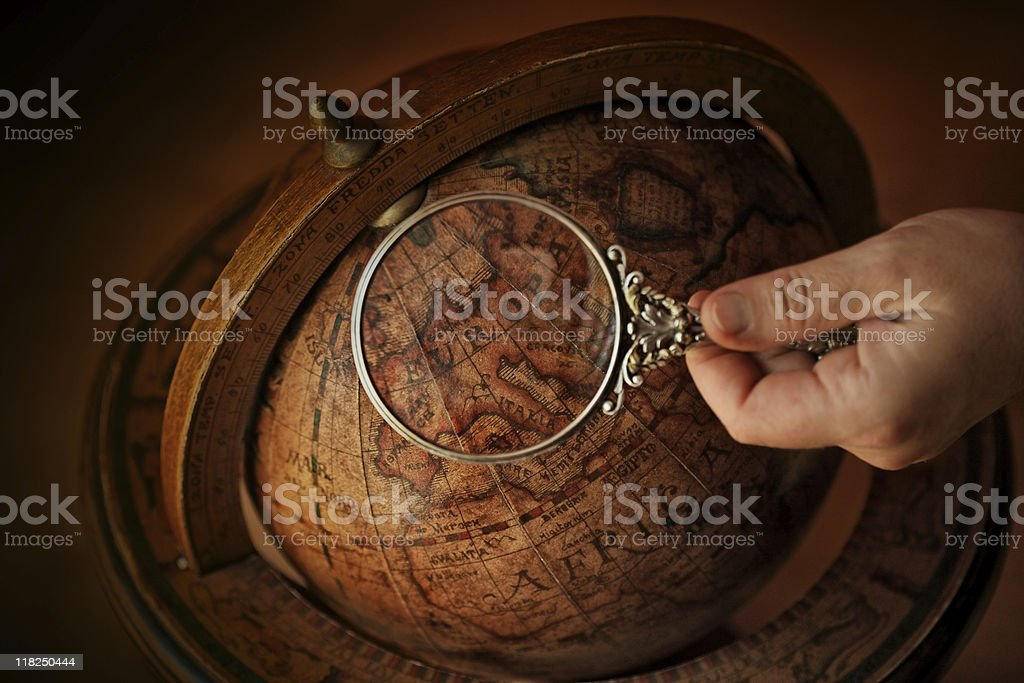 Europe under magnifying-glass stock photo