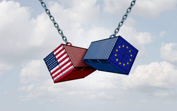 Europe United States Tariff War Europe USA trade war and American tariffs as two opposing cargo freight containers in European Union economic conflict as a dispute over import and exports as a 3D illustration. tariff stock pictures, royalty-free photos & images