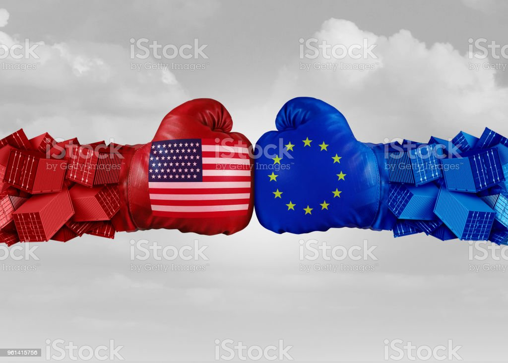 Europe USA Trade Fight stock photo