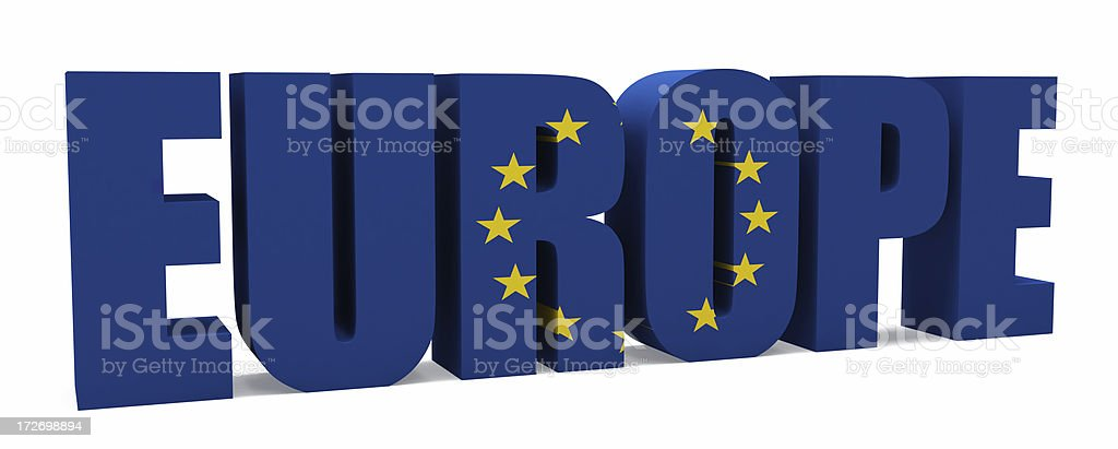 3D Europe with Flag royalty-free stock photo